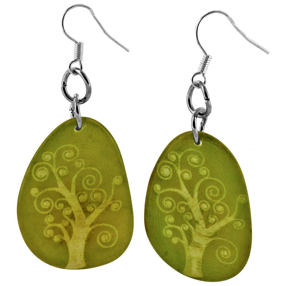 Tree Of Life Etched Tagua Earrings