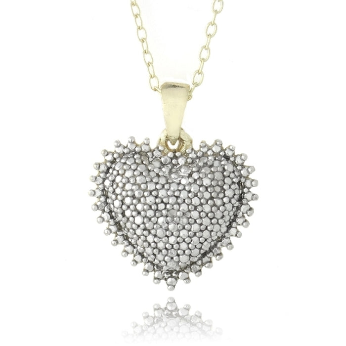 18k Gold Over Sterling Silver Diamond Accent Puffed Heart Necklace