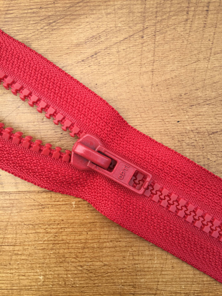 "Nylon Chunky Open Ended Zip - 14""/36cm - Red"