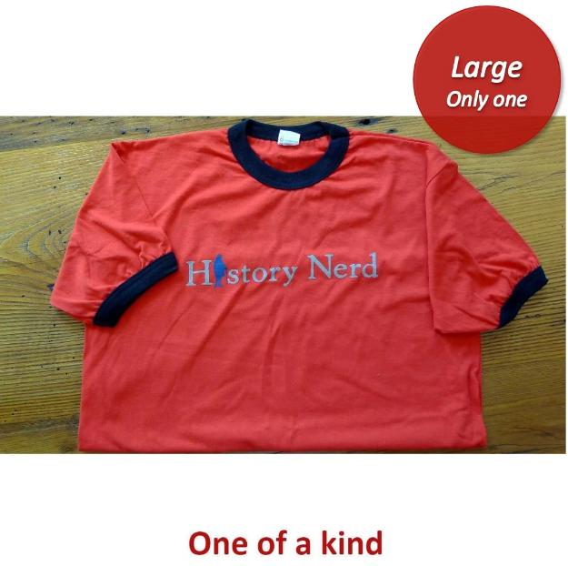 """History Nerd"" Ringer shirt with Ben Franklin - Bright red with black ring - Only one from The History List Store"