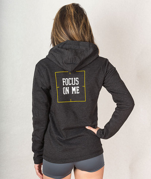 back view of FOCUS ON ME hoodie