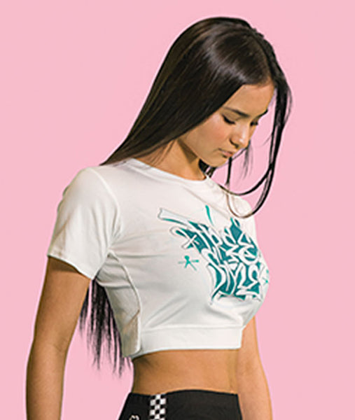 Crop Tee with Freestyle Graffiti design