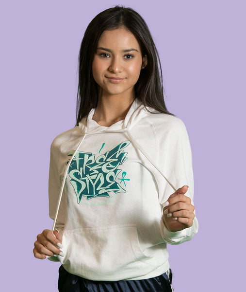 FREESTYLE Graffiti graphic on white hoodie