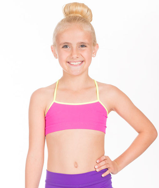 Pink/Yellow Cami Sports Bra for Girls