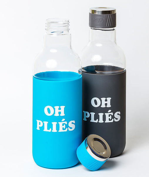 Oh Pliés Water Bottles in Aqua and Smoke Gray