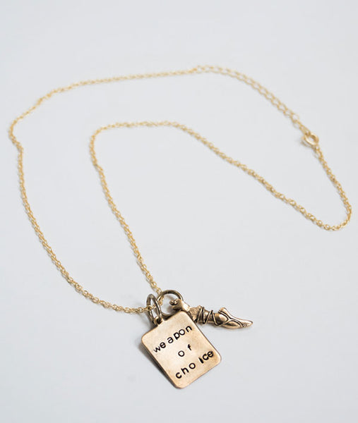 Necklace with vintage pointe shoe and stamped charm