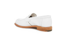 white leather loafers