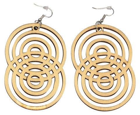 figure 8 natural hair earrings afrocentric hoop ear rings fashion jewelry accessories accessory outfit idea geometric tribal design wooden big hanging dangling