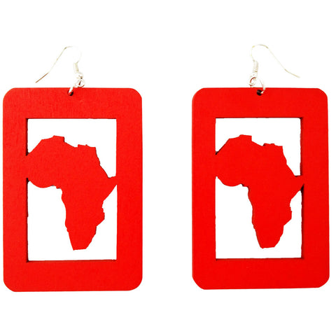 africa shaped earrings, africa map earrings, africa earrings, natural hair earrings, afrocentric earrings afro fashion african natural wood twa style black green red urban handmade jewelry accessories accessory fashion