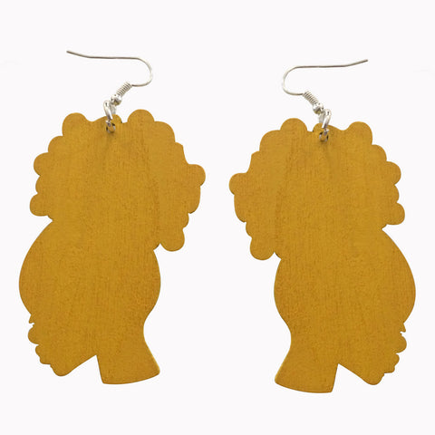 yellow afro puff earrings | natural hair earrings | afrocentric earrings | afrocentric jewelry | afrocentric fashion | african earrings | afro puff