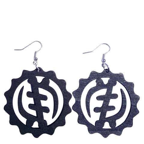 gye nyame earrings black | Gye Nyame earrings | Gye Nyame Jewelry | Gye Nyame clothing | Adinkra Gye Nyame | Adinkra earrings | Adinkra Jewelry
