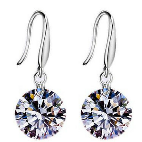 Cubic Zirconia Earrings / Naked swarvoski drill sterling silver earring / jewelry / accessories