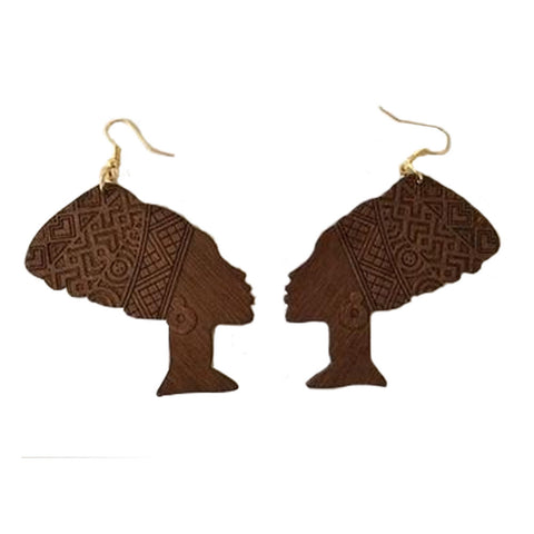 dark brown queen nefertiti earrings | Afrocentric earrings | natural hair earrings