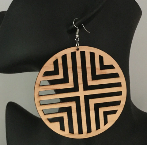 geometric adinkra wooden natural hair earrings afrocentric jewelry fashion accessories accessory tribal ear rings
