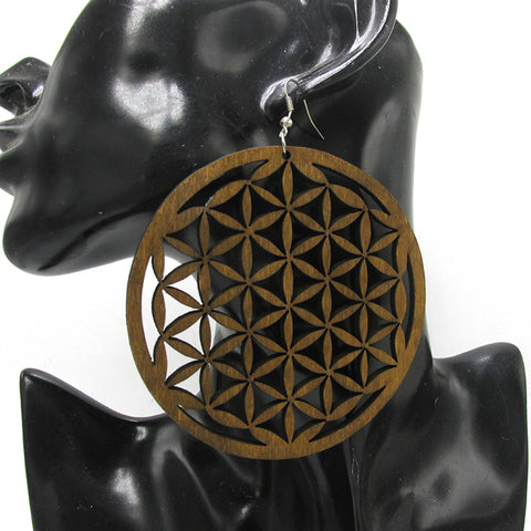 geometric earrings ear rings natural hair wooden round large big black brown color hoop adinkra symbol