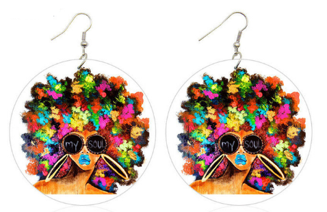 kaleidoscope natural hair earrings afro jewelry afrocentric accessories fashion outfit idea clothing tutorial 4b 4c ear candy whimsical urban trendy unique