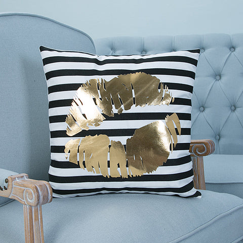 kissing puckered lips kiss love gold pillow case cover home decor first apartment white unique urban decoration teenager room