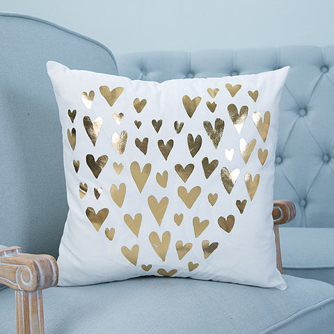 love hearts gold pillow case cover home decor first apartment white unique urban decoration teenager room