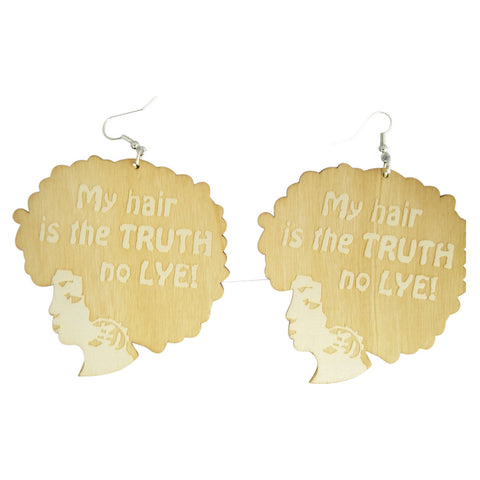 my hair is the truth no lye | Afrocentric earrings | natural hair earrings