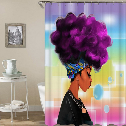 purple afro shower curtain curtains bathroom home decor bath design idea fuschia female woman lady feminine African American