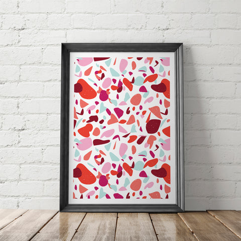 Red Terrazzo Art Printable - Little Gold Pixel