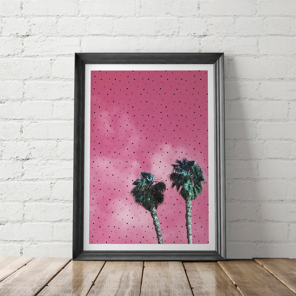 Polka Dot Palms Art Printable - Little Gold Pixel