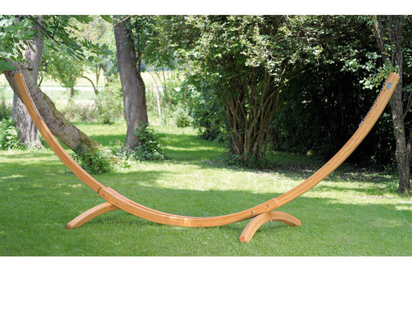 Large Arcus hammock stand frame in garden.