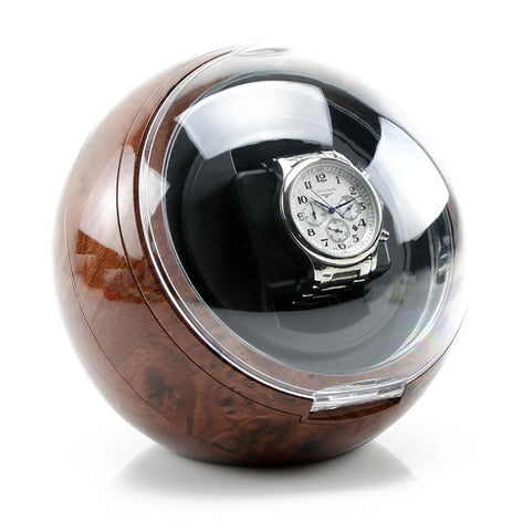 AXIS® Burl Spherical Single Watch Winder with Blue LED indicator