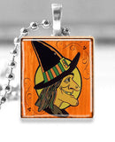 Scrabble Tile Pendant with Silver Ball Chain Necklace (Halloween Witch)