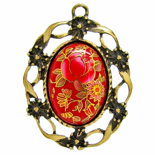 Red Japanese Tensha Cameo in Antique Bronze Setting at BaublesOfFun.com