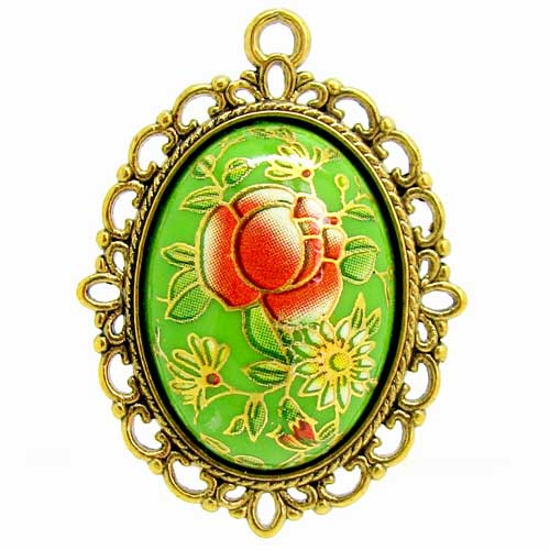 Green Japanese Tensha Floral Cameo in Antique Gold Setting at BaublesOfFun.com
