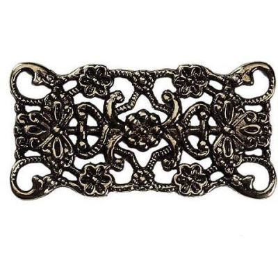 Antique Bronze Filigree Connectors Links | Rectangle Floral Metal Stampings - Embellishments