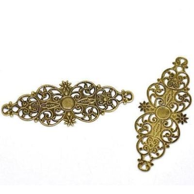Antique Bronze Filigree Flower Wraps / Brass Ox Connectors - Embellishments