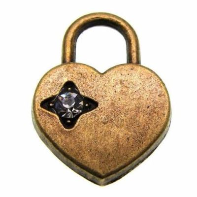 Antique Bronze Heart Lock Charm With Rhinestone - Charms