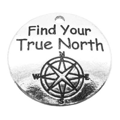 Antique Silver Stamped Find Your True North Compass Inspirational Charm - Charms