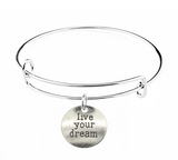 Live Your Dream Charm on Bracelet at Baubles Of Fun