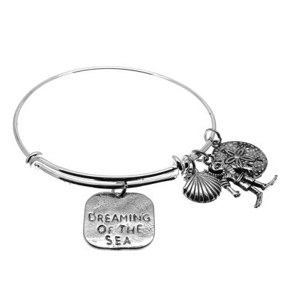 Love Arm Candy: Antique Silver Adjustable Wire Bangle Bracelet With Dreaming Of The Sea Diver Seashell & Sand Dollar Charms | Stacking Charm