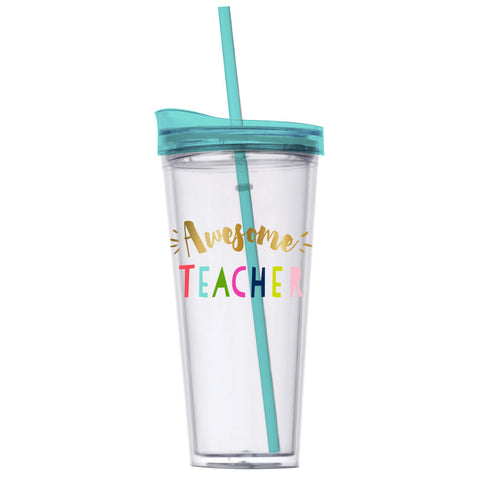 awesome teacher plastic tumbler
