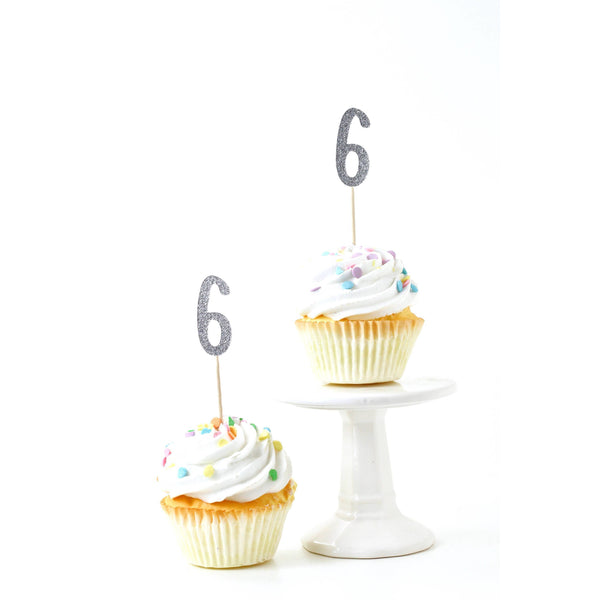 Cake & Cupcake Toppers - Number 6 Silver Glitter Cupcake Toppers
