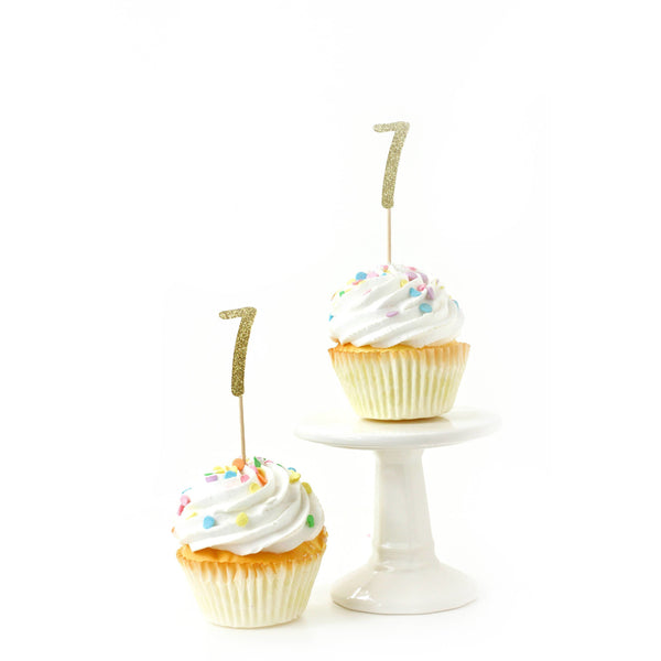 Cake & Cupcake Toppers - Number 7 Gold Glitter Cupcake Toppers
