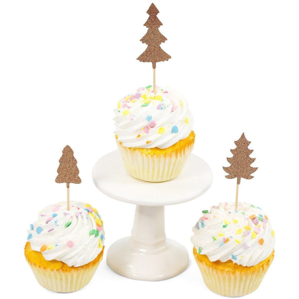 Cake & Cupcake Toppers - Pine Tree Rose Gold Glitter Cupcake Toppers