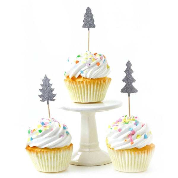Cake & Cupcake Toppers - Pine Tree Silver Glitter Cupcake Toppers