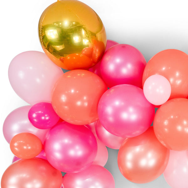 "SHIPS FREE** Balloon Garland Kit - Pink Gold Coral Yellow Giant Balloon Arch -""Strawberry Sangria"" XL Party Prop, Its a Girl, Bridal, Girl"