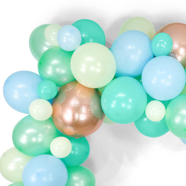 "SHIPS FREE** Giant Balloon Garland Kit - Mint Blue Rose Gold Giant Balloon Arch -""Hello World"" XL Boy Party Prop, Its a Boy, First Birthday"