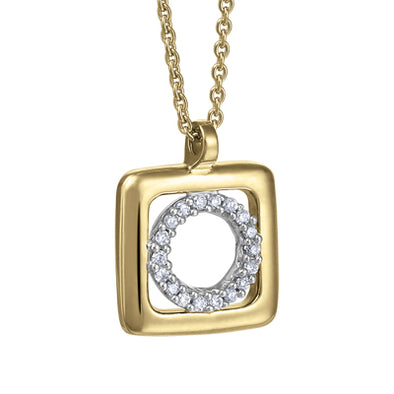 Circle In Square White And Yellow Gold