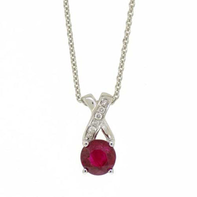 Crossed Diamond And Ruby Pendant