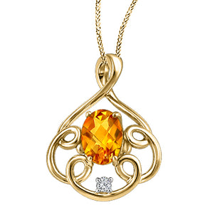 Citrine And Yellow Gold Looping Diamond Pendant
