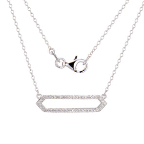 Adjustable Silver CZ Necklace