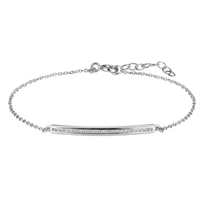 Adjustable Silver CZ Bar Bracelet