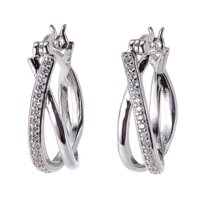 Criss Cross Lever Back Sterling Silver Hoops